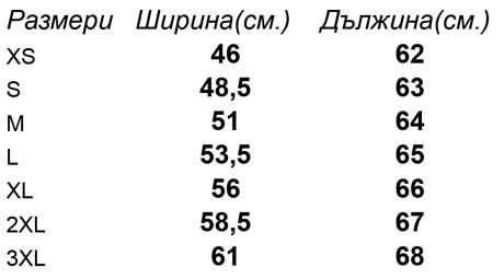 таблица-размери-Дамска-риза-с-къс-ръкав-LADY-FIT-SHORT-SLEEVE-OXFORD-SHIRT