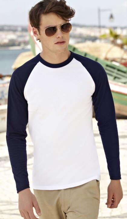 Двуцветна тениска с дълъг ръкав VALUEWEIGHT LONG SLEEVE BASEBALL T