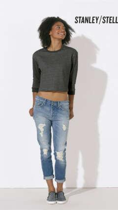 Дамска меланжирана ватирана къса блуза STELLA GLIDES