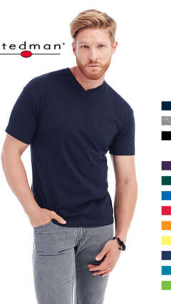 Мъжка памучна тениска с V-образно деколте по собствен дизайн