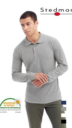 Мъжка памучна поло блуза с дълъг ръкав и пике яка по собствен дизайн