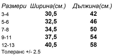 таблица-размери-Детска-памучна-тениска-MINI-STELLA-DRAWS