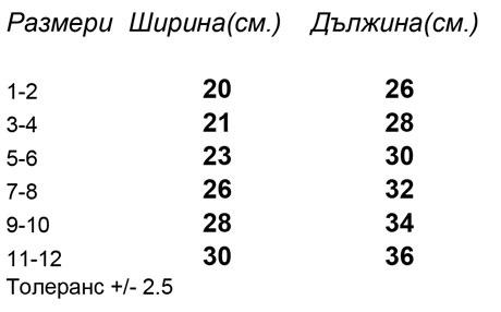 таблица-размери-Детски-къси-спортни-панталони-SPORT-KIDS