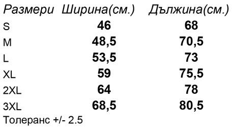 таблица-размери-Мъжка-тениска-ICONIC-T