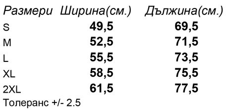таблица-размери-Мъжка-вталена-тениска-STANLEY-RELAXES-OUTLET